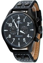Adee Kaye #AK7234-MIPB Men's Leather Band Classic Retro Chronograph Watch