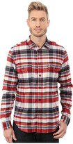 Lacoste Long Sleeve Check Flannel Woven Shirt with Nylon Trim at Neckline