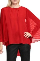 Vince Camuto Petite Women's Pleated Chiffon Sleeve Blouse