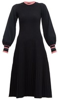 Roksanda Mereza Blouson-sleeve Knitted Midi Dress - Womens - Black Navy