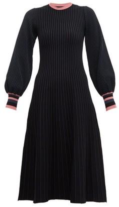 Roksanda Mereza Blouson-sleeve Knitted Midi Dress - Black Navy