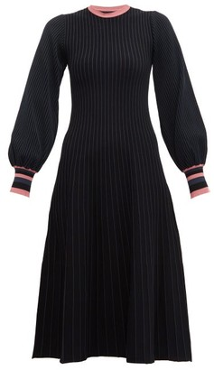 Roksanda Mereza Blouson Sleeve Knitted Midi Dress - Womens - Black Navy