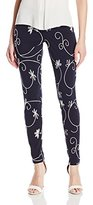 Hue Women's Floral Embroidery Denim Leggings