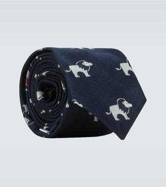 Thom Browne Icon lion silk tie