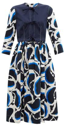 Marni Paisley-print Poplin Dress - Womens - Navy Multi