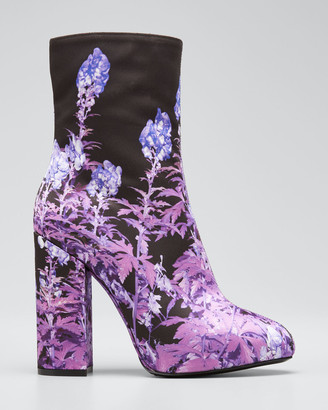 Dries Van Noten Flower-Print Fabric Booties