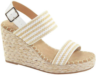 Bella Marie Women's Sandals WHITE - White Stripe Ankle-Strap Wedge Espadrille - Women
