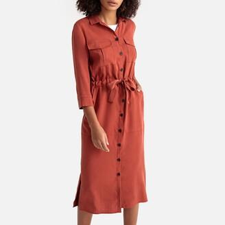 La Redoute Collections Tie-Waist Midi Shirt Dress