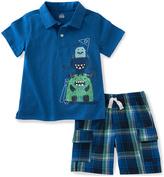 Kids Headquarters Blue Monster Polo & Plaid Shorts - Infant Toddler & Boys