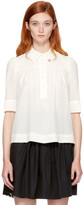 Marc Jacobs Ivory Silk Collar Pin Blouse