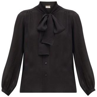 Saint Laurent Pussy-bow Swiss-dot Silk-blend Blouse - Womens - Black