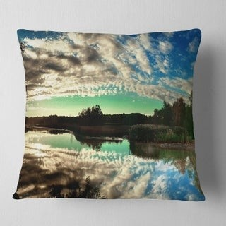 Design Art Designart 'Sky Clouds Mirrored in River Panorama' Landscape Printed Throw Pillow