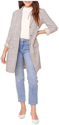 BB Dakota Plaid Reputation Boyfriend Coat (Light Taupe) Women's Clothing