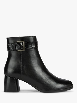 Geox Women's Calinda Leather Buckle Mid Block Heel Ankle Boots