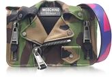 Moschino Camo Biker Jacket Printed Leather Shoulder Bag