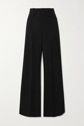 Chloé Satin-trimmed Wool Wide-leg Pants - Black