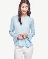Ann Taylor Petite Pleated Cuff Blouse