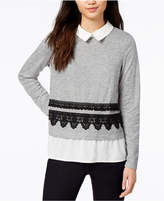 Maison Jules Embroidered Layered-Look Sweater, Created for Macy's