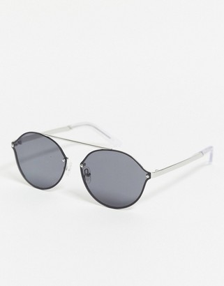 Pilgrim zadie oval sunglasses with silver frame