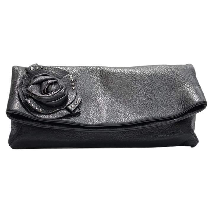 Giuseppe Zanotti Black Leather Clutch Bag