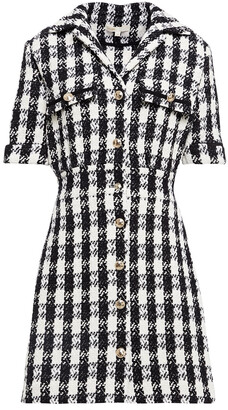 Maje Ricky Houndstooth Cotton-blend Tweed Mini Dress