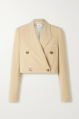 Nanushka Moscot Cropped Double-breasted Woven Blazer - Sand