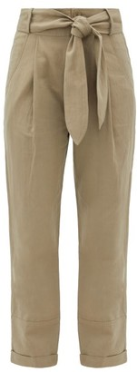 Apiece Apart Bendita Belted Linen-blend Twill Trousers - Khaki