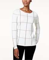 Charter Club Petite Windowpane Sweater, Created for Macy's