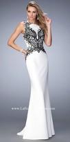 La Femme Sleeveless Embroidered Jersey Prom Dress
