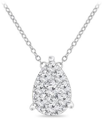 Auriya 14k Gold 1/4ct TDW Pear Shaped Pave Diamond Necklace by Auriya