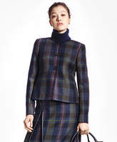 Brooks Brothers Tartan Wool Jewel-Neck Blazer