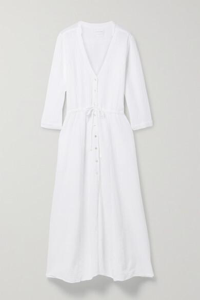 Thumbnail for your product : HONORINE Georgia Cotton-seersucker Midi Dress - White