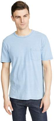 Faherty Short Sleeve Indigo Striped Pocket Tee