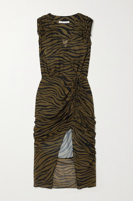 Veronica Beard Teagan Wrap-effect Ruched Zebra-print Silk Crepe De Chine Dress - Army green