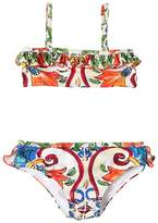 Dolce & Gabbana Maiolica Print Lycra Bandeau Bikini