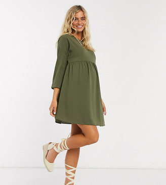 Asos DESIGN Maternity long sleeve smock mini dress in khaki