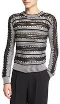 Maiyet Long-Sleeve Crochet-Striped Sweater, Black/White