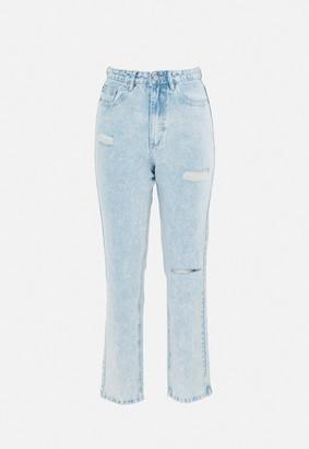 Missguided Blue Wrath Slash Rip Straight Leg Jeans