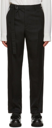 Valentino Black and Grey Wool Pinstripe Trousers