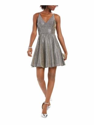 Xscape Evenings Womens Gray Glitter Zippered Spaghetti Strap V Neck Mini Fit + Flare Party Dress Size: 6