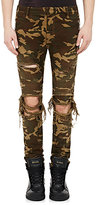Balmain Men's Camouflage Distressed Moto Jeans