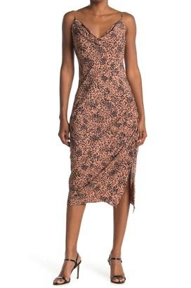 Love Stitch Printed Ruche Sleeveless Slip Dress