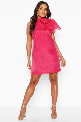 boohoo Organza Sleeveless Pussybow Swing Dress