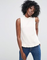 Asos Shell Top With Woven Ruffle High Neck