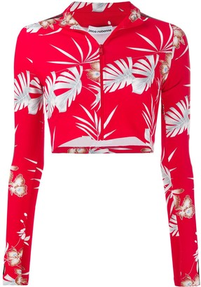 Paco Rabanne floral print zipped cropped top