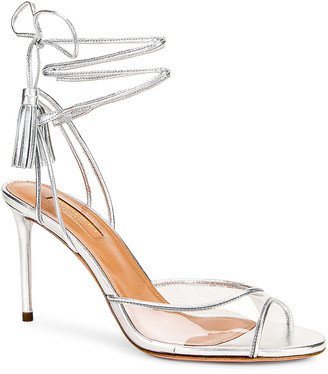 Aquazzura Nudist 85 Sandal in Silver | FWRD