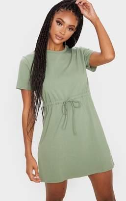 PrettyLittleThing Olive Drawstring Tie Waist T Shirt Dress