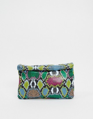 ASOS DESIGN roll top clutch in multicoloured snake bag