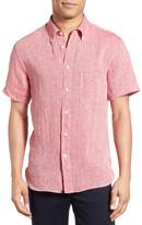 Billy Reid Tuscumbia Trim Fit Short Sleeve Linen Sport Shirt