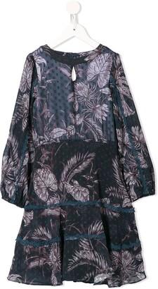 Marchesa Notte Mini Long-Sleeved Leaf Print Dress